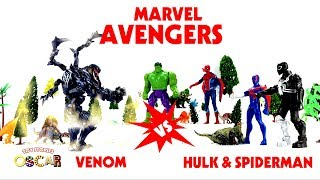 Hulk vs venom -  red spiderman black spiderman - spider girl - blue spiderman