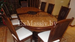 Обеденный стол из массива дуба и стулья, Dining table made of solid oak and chairs.(, 2015-04-11T13:59:51.000Z)