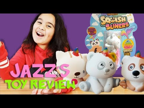 Little Jazz Reviewing RAINBOW SQUISH SLIMES | Best Relaxing Toys | Jazz Toy Review