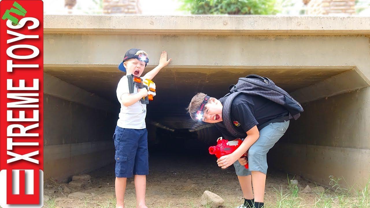 Exploring Spooky Tunnel! Sneak Attack Squad Vs. Mystery Creature!