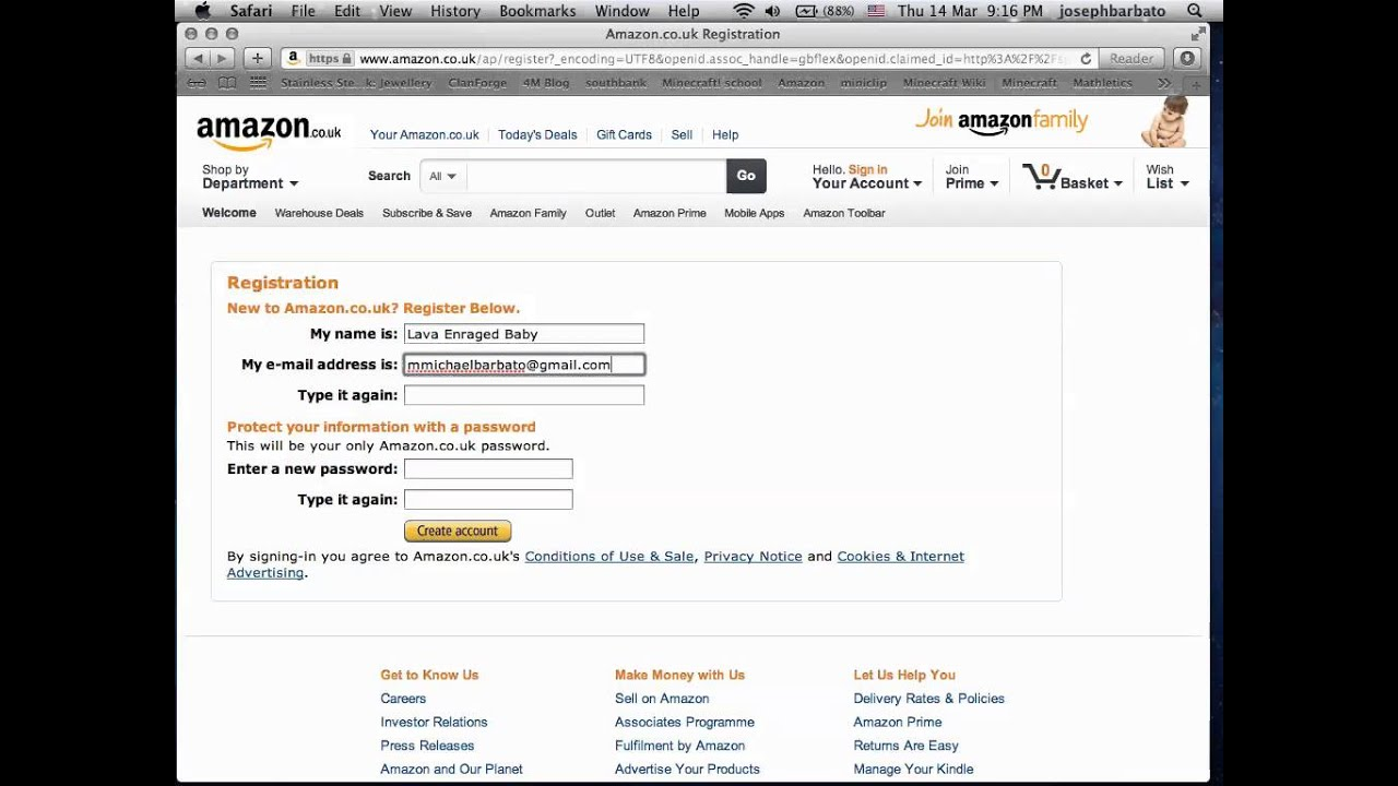 How To make an Amazon account - YouTube - photo#4