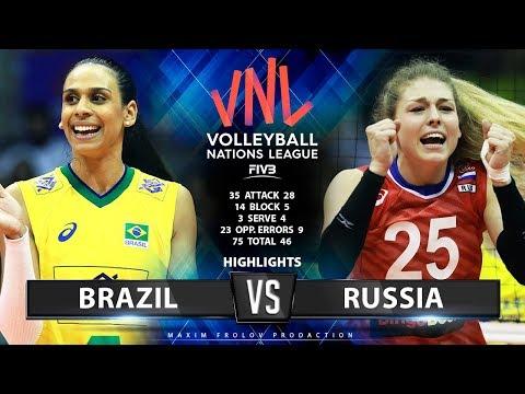 Brazil Vs Russia  | Highlights | Women's VNL 2019