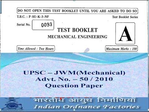 JWM (UPSC)(Mechanical)- 2010 Full paper pdf, Must Practice - YouTube