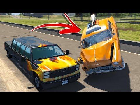 ROCKET CAR DRAG RACING! INSANE CRASHES! - BeamNG Drive Drag Racing