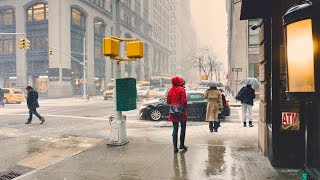 NEW YORK CITY 2018: SPRING RAIN on the STREETS OF MANHATTAN [4K]