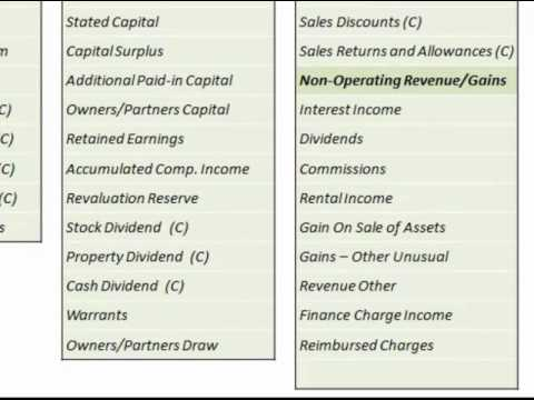 Chart Of Accounts Reference List  (Used In College Accounting Courses)