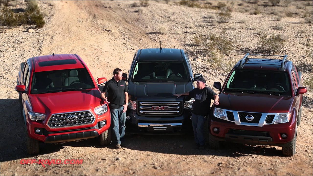 2016 mid size truck shootout tacoma vs canyon vs frontier youtube. Black Bedroom Furniture Sets. Home Design Ideas