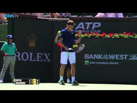 Wawrinka with the miss of the year against Goffin at Indian Wells 2016