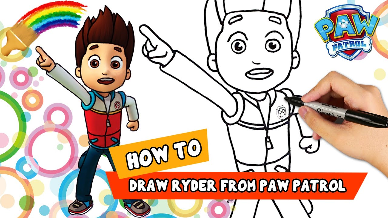 How To Draw Paw Patrol Ryder Coloring Page For Kids 2019 Youtube
