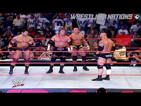 Goldberg Vs Triple H,Batista And Randy Orton 3 On 1 Match