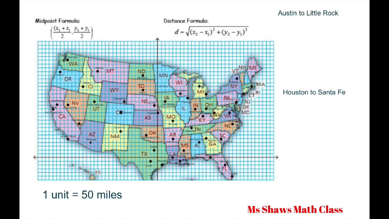 Map Of Us With Distances Find the Distance and Midpoint between Two Cities on US Map