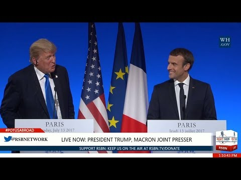"""Macron tells Trump IN ENGLISH """"You're always welcome back in Paris""""!"""