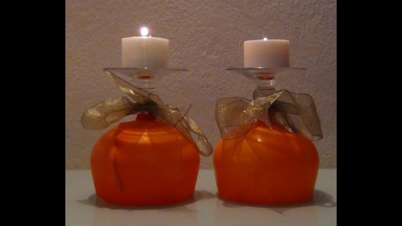 De copa de cristal a portavelas decorativo naranja para - Portavelas cristal ...