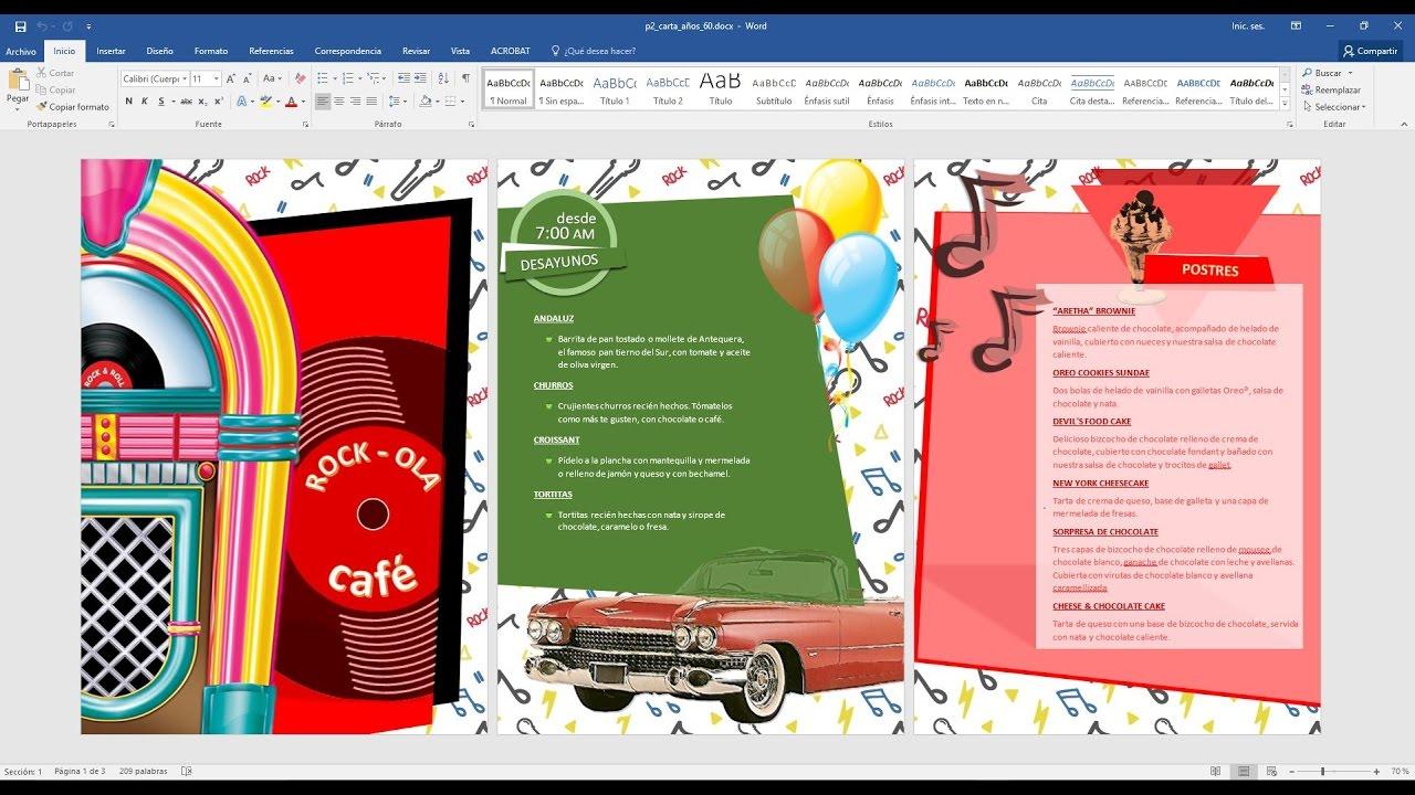 01 Crear carta menú de los 60 con word 2016 (Cambiar paleta color ...
