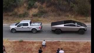Tesla Cybertruck VS  Ford F-150   TUG OF WAR   A Scene from Tesla Cybertruck Unveil Event 2019