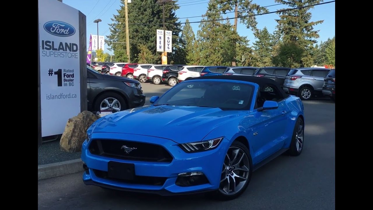2017 ford mustang gt premium convertible in grabber blue review island ford youtube