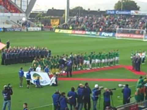 National Anthems prior to kick between South Africa and Republic of Ireland Soccer teams