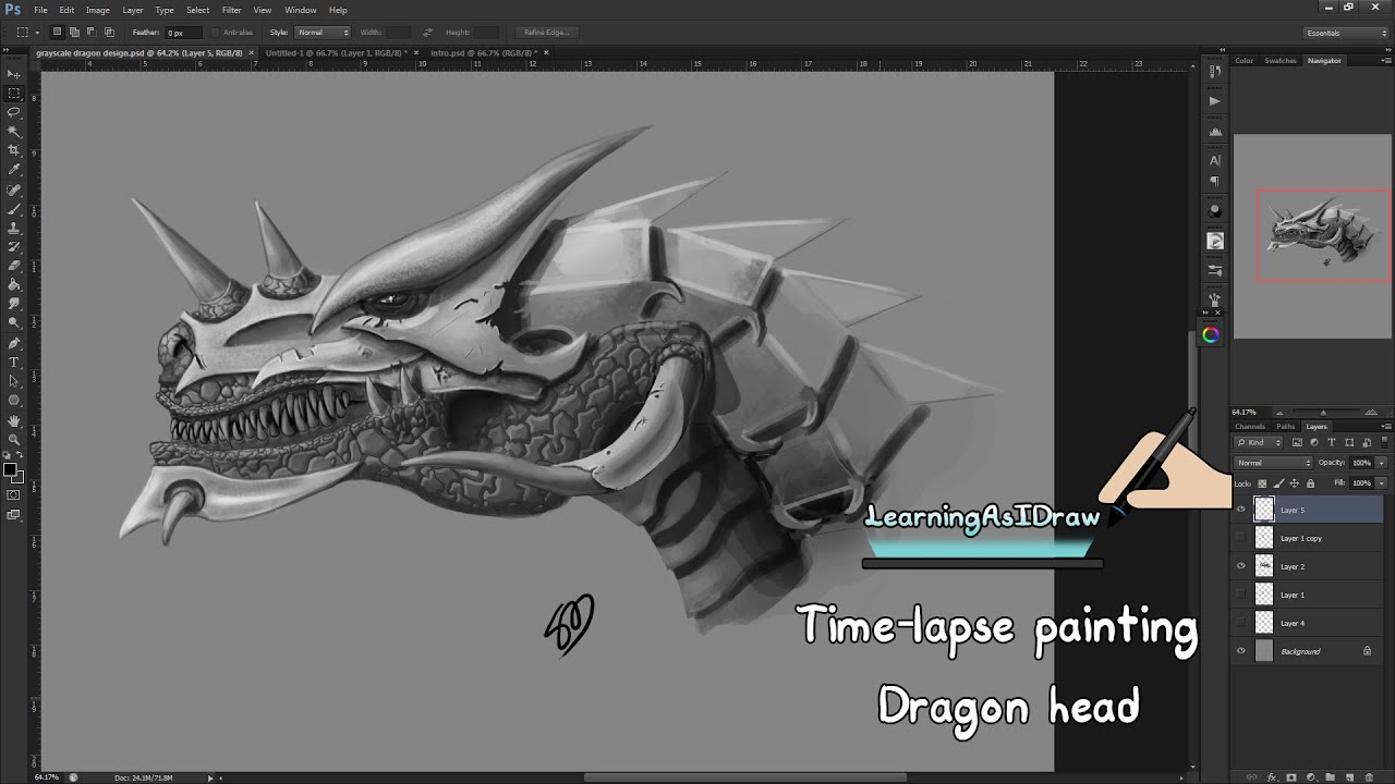 Dragon Head Painting Using Photoshop Digital Art Time Lapse How To Draw  Tutorial Youtube