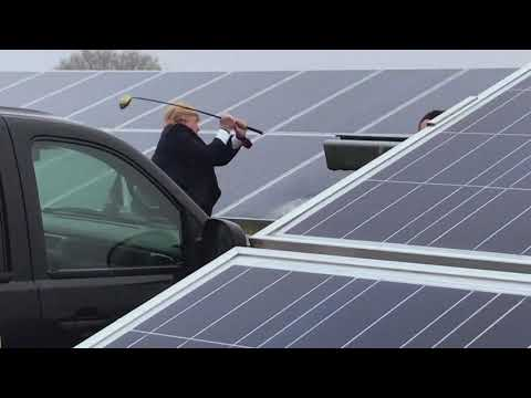 Trump Smashing Up Solar Panels!