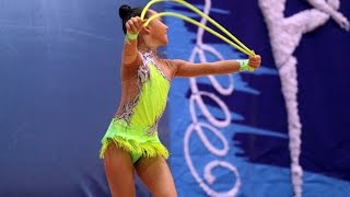 Rhythmic gymnastics performance of the rope. Children