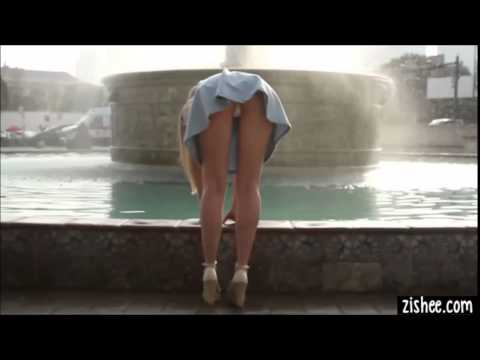 Blonde college girl upskirt panties by the fountain from YouTube · Duration:  37 seconds