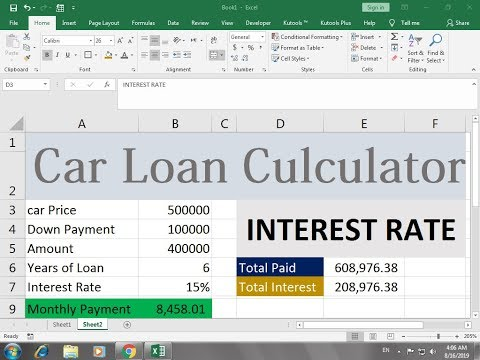 #350 How To Make Car Payment Calculator Sheet In Excel Hindi