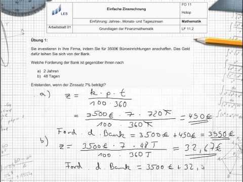 Einfache Zinsrechnung - Zinsformeln