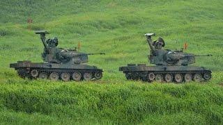 japan s mitsubishi type 87 self propelled anti aircraft gun oerlikon 35 mm twin cannon jgsdf