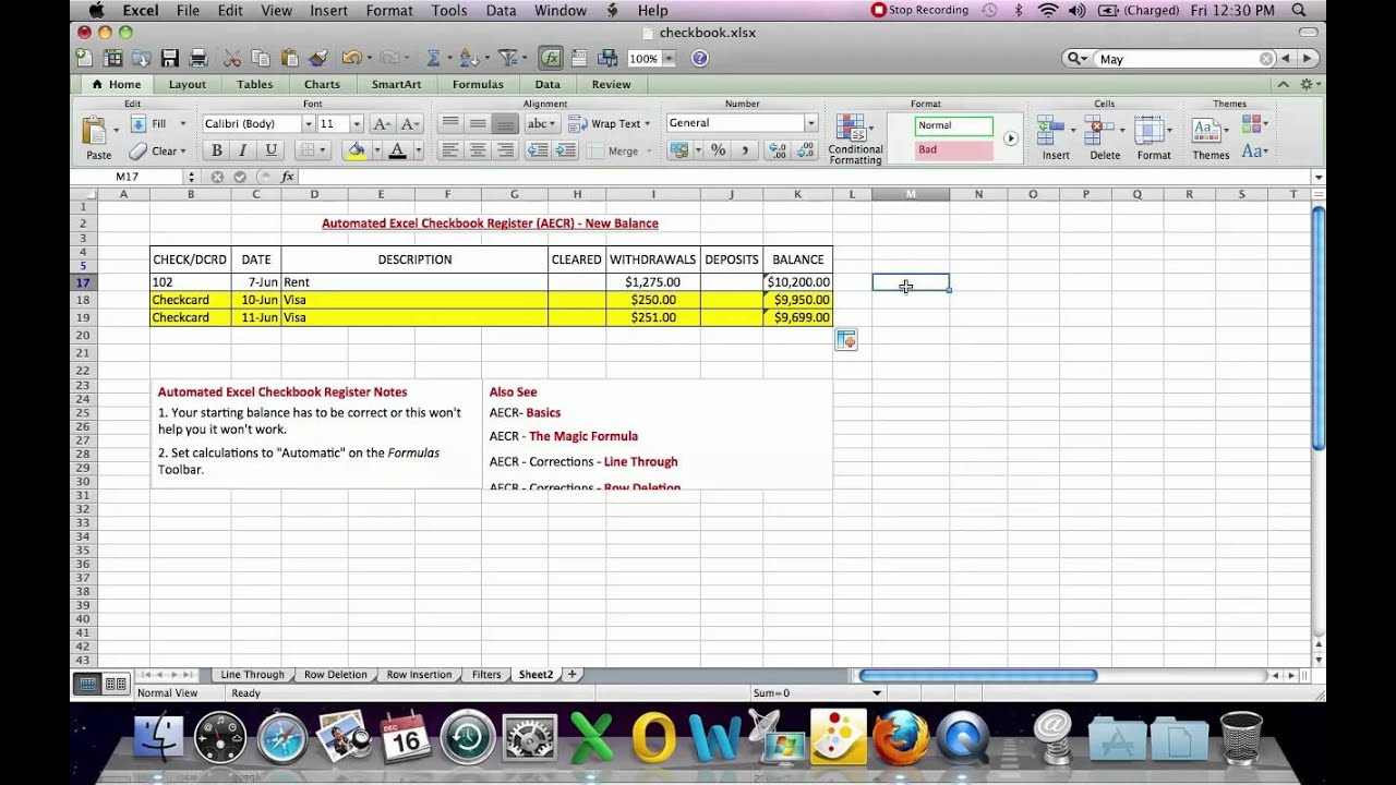 automated excel checkbook register new balance youtube