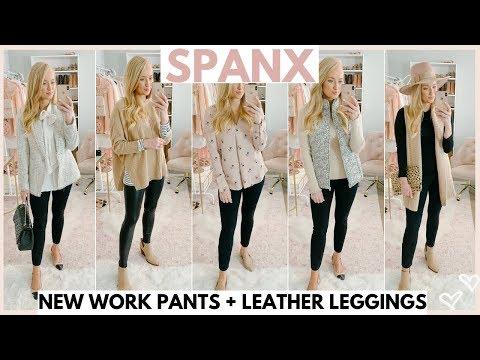 NEW SPANX PERFECT BLACK PANT and SPANX LEATHER LEGGING OUTFIT IDEAS | Amanda John| Amanda John