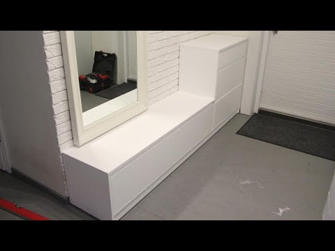 Мебель в прихожую с мдф, тумба для обуви в прихожую. Мебель без ручек Киев
