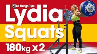 Lydia Valentin Heavy Squat Session (180kg x2!) & Hang Snatches 2017 Worlds Training Hall