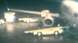 Airplane sliding on ice.