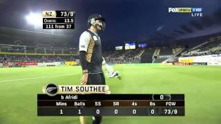 boom boom and greet Shahid Afridi 134km h Fastest Spinner Ball v New Zealand, 3rd T20 2010 11.flv