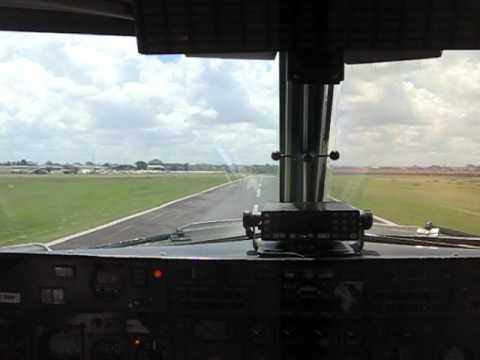 Airkenya DHC-7 Landing at Nairobi Wilson Airport, Kenya - Cockpit View