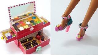 DIY Doll crafts: barbie high heels shoes, makeup set | Làm giày cao gót và hộp trang điểm cho búp bê