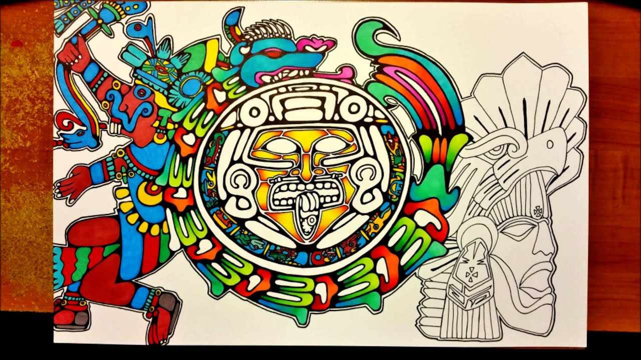aztec and mayan mix prisma color drawing