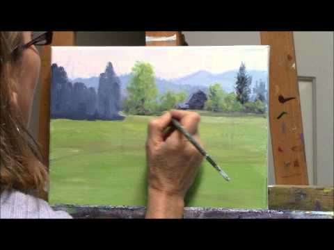 """Yellow Broom Spring"" Part 1 – Acrylic Country Landscape and Barn Painting Demo"