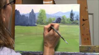 """Yellow Broom Spring"" Part 1 - Acrylic Country Landscape and Barn Painting Demo"