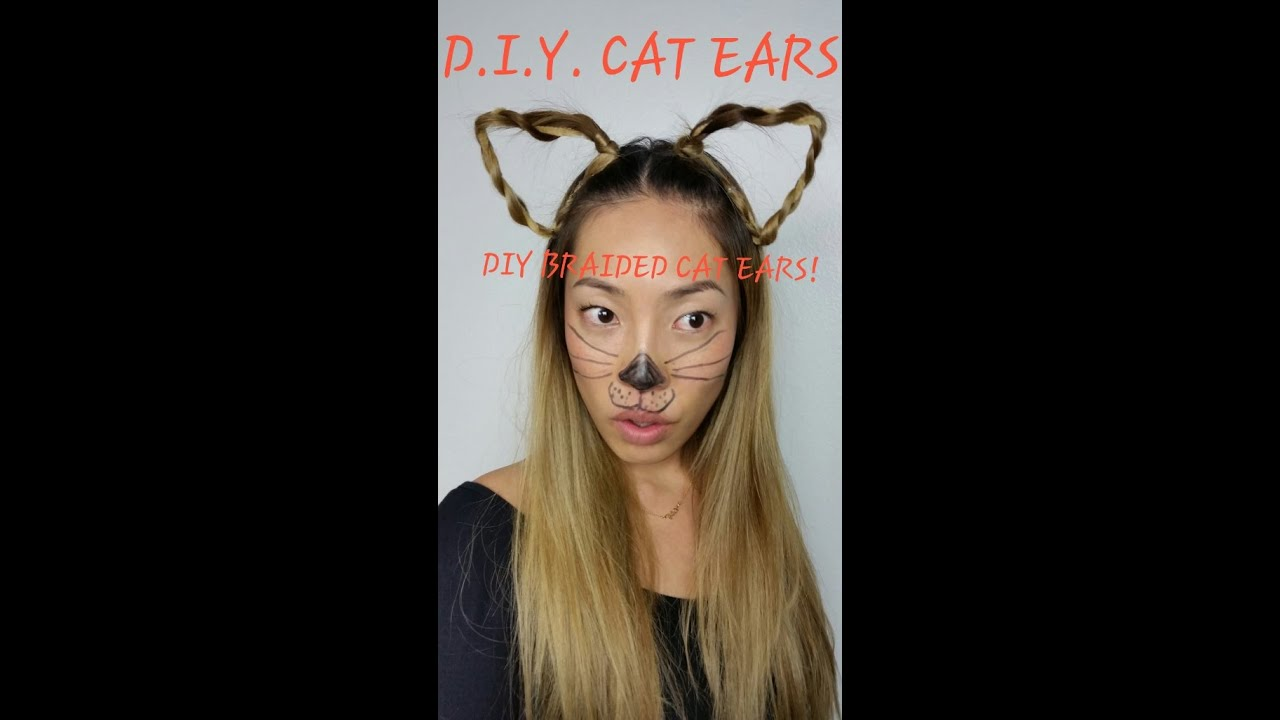 sc 1 st  YouTube & Last Minute *EASY* DIY Halloween Costume- Braided Cat Ears! - YouTube