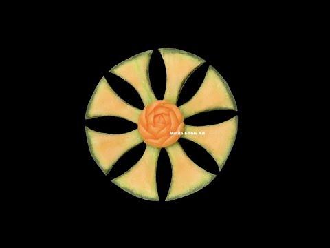 Cantaloupe   Rockmelon   Fishtail   Flower Shape For Kids   Beginners 167   Mutita Edible Art Of Fru