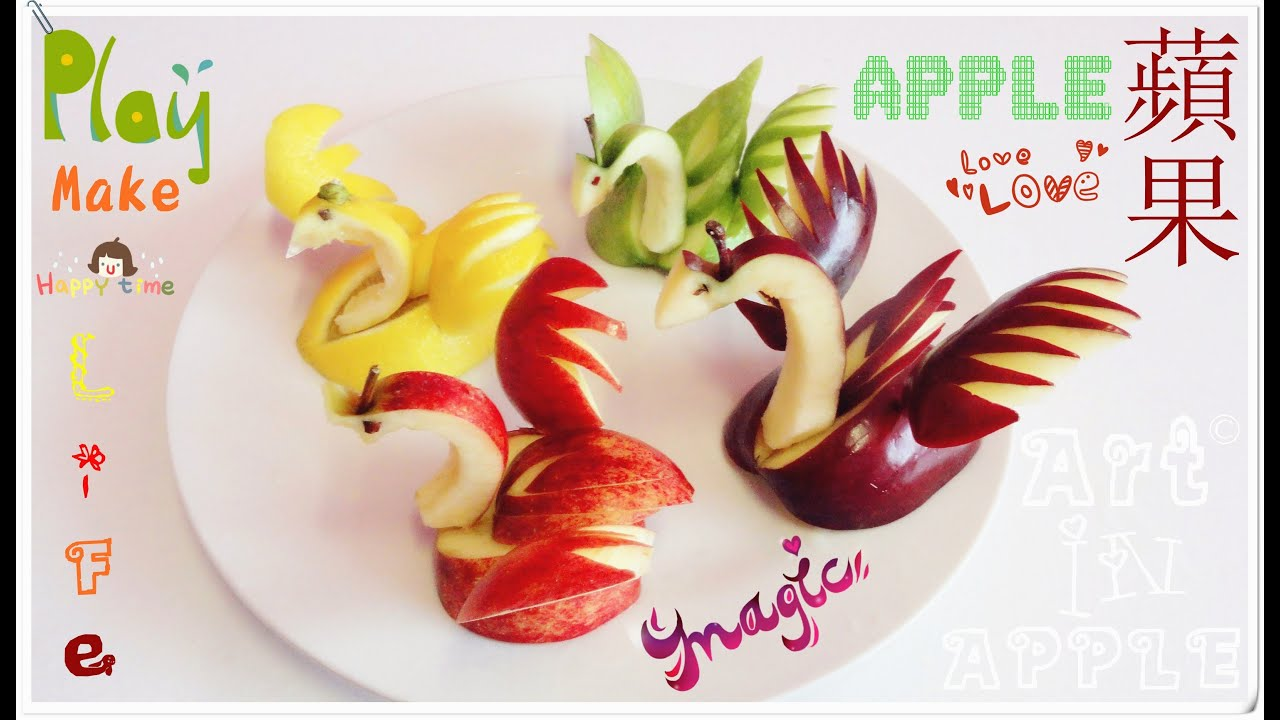 Art in apples show fruit carving apple swan fruit - How to slice strawberries for decoration ...