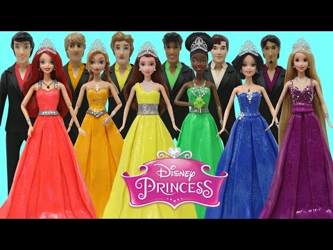 Thumbnail: Play Doh Disney Prince & Princess Anna Tiana Belle Ariel Rapunzel Snow White Prom Costumes
