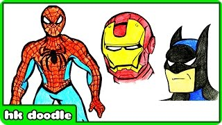 How To Draw SPIDERMAN | How To Draw Superheroes | Step by Step Drawing Tutorial for Kids