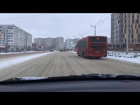 Tataristan Kazan'da karlı bir gün ve yolun hali