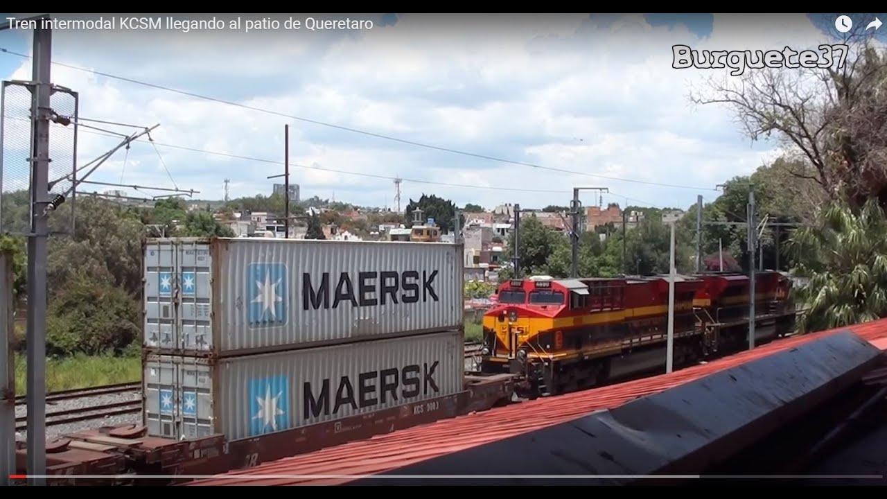 Tren Intermodal KCSM Saliendo Del Patio De Queretaro