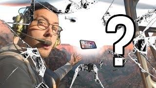 Chute de 300m d'un iPhone X en Hélicoptère !