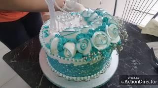 Оформление свадебного торта БЗК на желирующем сахаре. Hochzeitstorte verschönert mit Eiweißcreme.