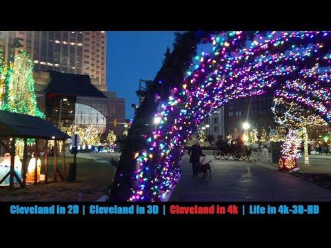 Cleveland Public Square - holiday lights at Twilight (4k)