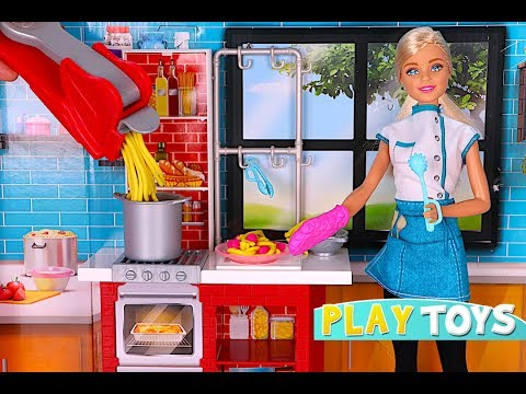 Thumbnail: Barbie doll kitchen toys - Playing BARBIE CHEF cooking pasta toy food & Barbie doll morning routine